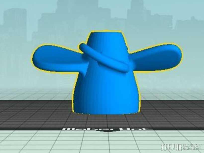 四叶螺旋桨 3D打印模型渲染图