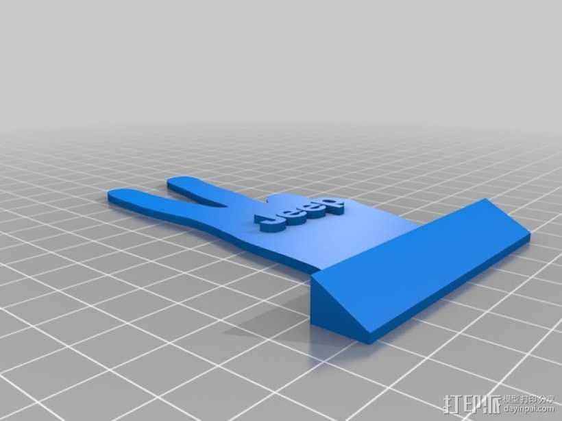 吉普车 v字形手势 装饰品 3D打印模型渲染图