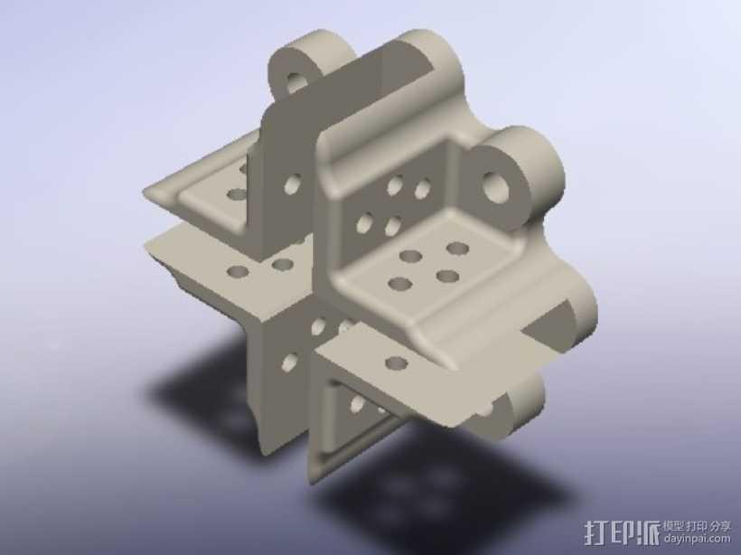 直流电机支架 3D打印模型渲染图