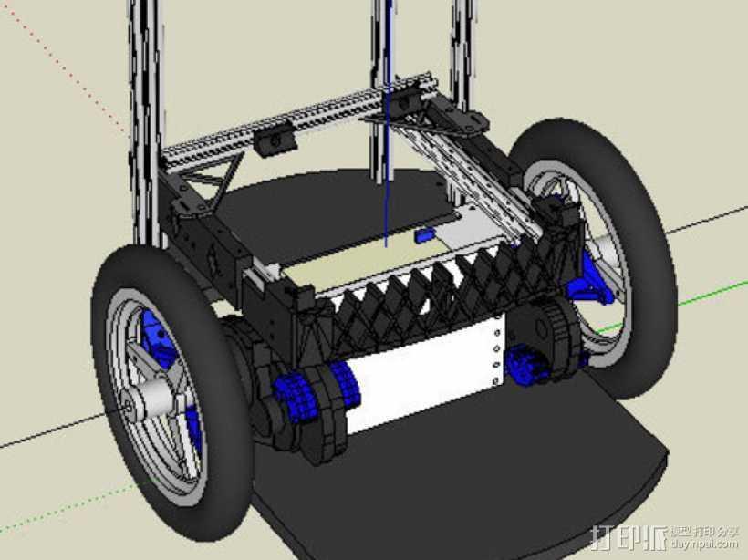 差速传动机器人底座 3D打印模型渲染图