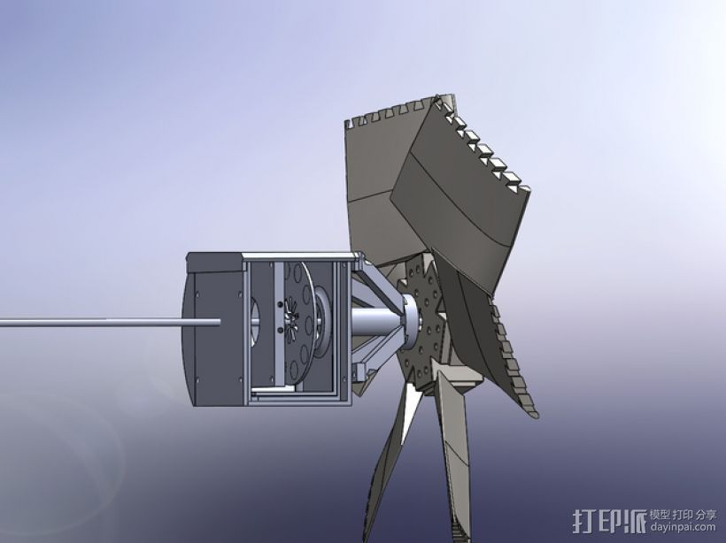风力发电机  3D打印模型渲染图