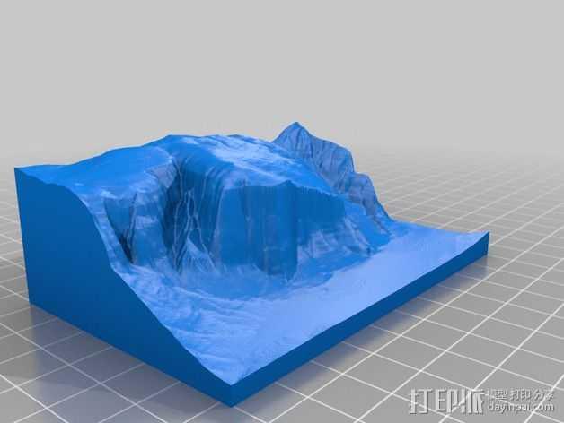 埃尔卡皮坦山脉地形图 3D打印模型渲染图