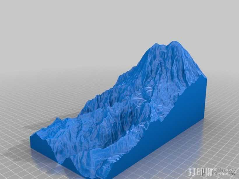 雷尼尔山 3D打印模型渲染图