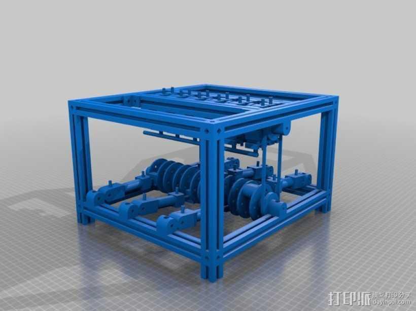 压缩空气引擎 3D打印模型渲染图