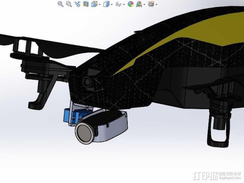 无人机 单轴相机常平架 3D打印模型渲染图
