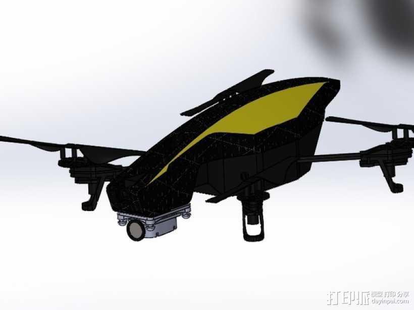 无人机 防振相机支架 3D打印模型渲染图