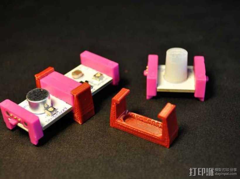 LittleBits模块化电子元器件 固定夹 3D打印模型渲染图
