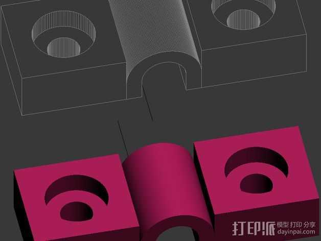 电源线固定夹 3D打印模型渲染图
