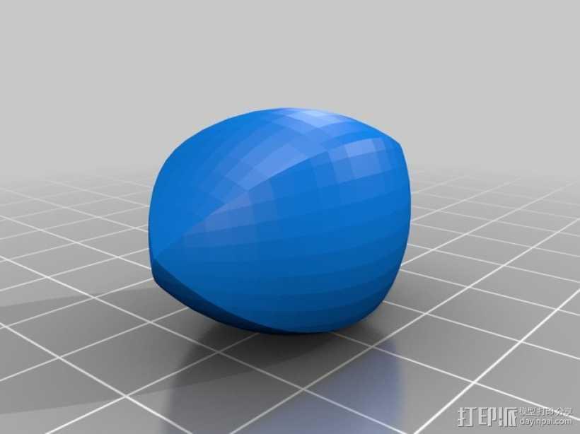 橄榄球,开放式SCAD 3D打印模型渲染图