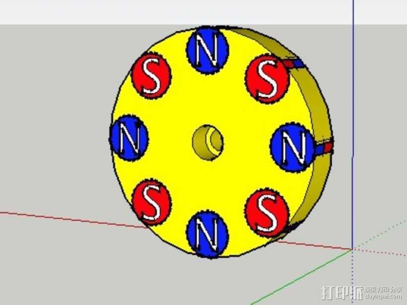 驱动磁铁夹 3D打印模型渲染图