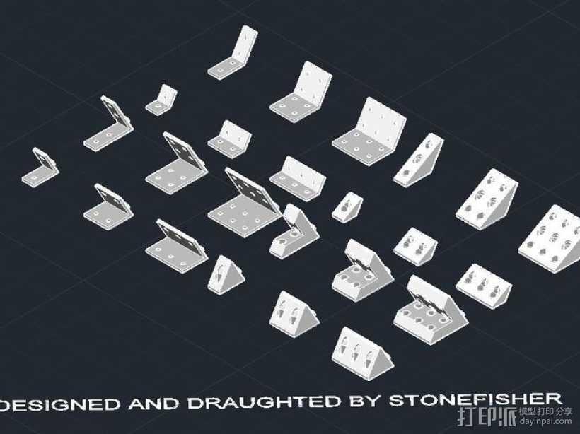 OpenBuilds V-Slot铝型材和120度盘和支架 3D打印模型渲染图