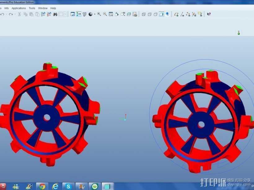 1:10比例RC车轮轴式轮胎 3D打印模型渲染图
