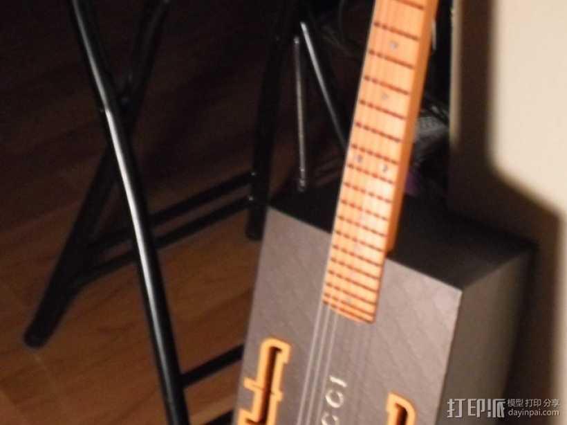 热熔塑料3D打印吉他 3D打印模型渲染图