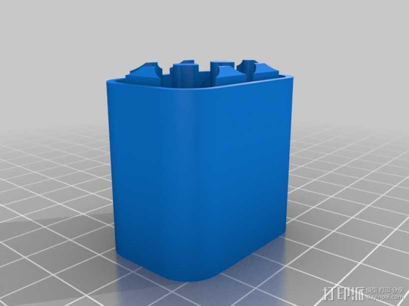 6节AAA电池座 3D打印模型渲染图