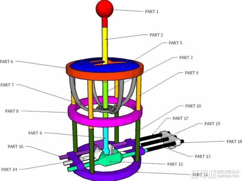 变速杆 3D打印模型渲染图