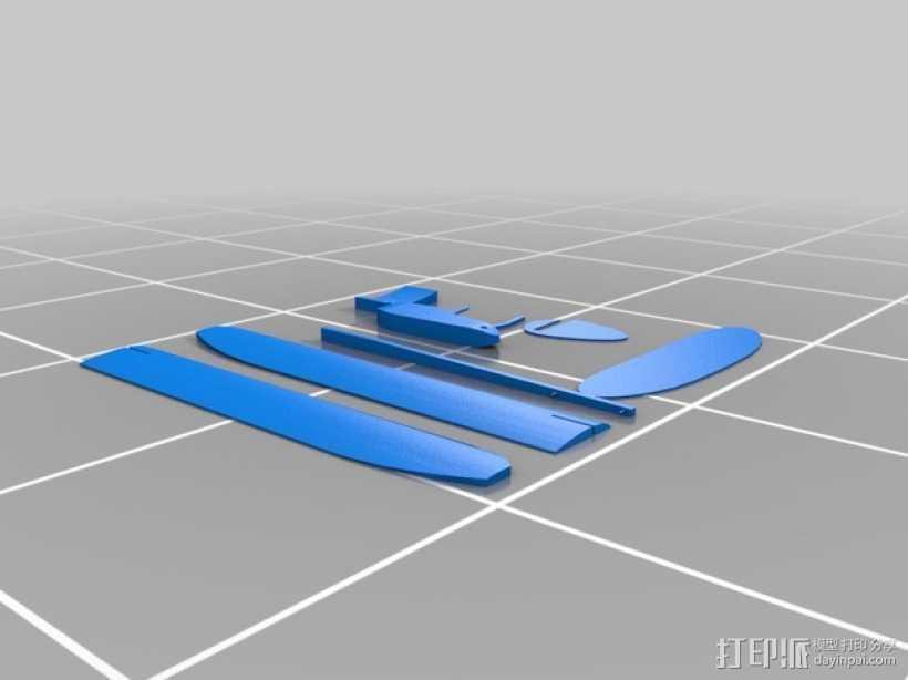 滑翔机 3D打印模型渲染图