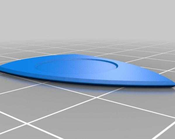 1.14mm吉他拨片 3D打印模型渲染图