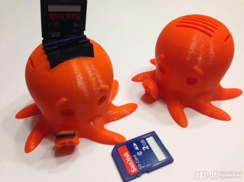SD卡 章鱼卡槽 3D打印模型渲染图