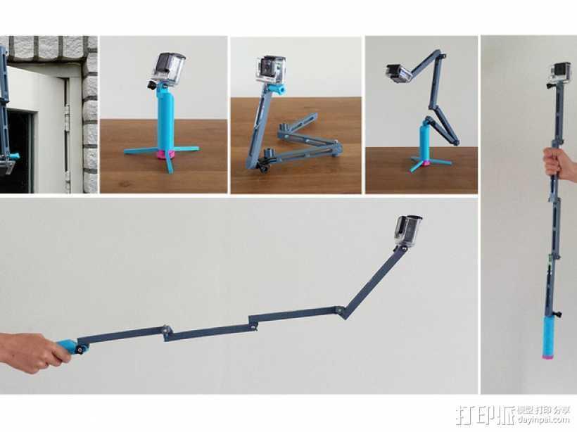 GoPro相机折叠支架 3D打印模型渲染图