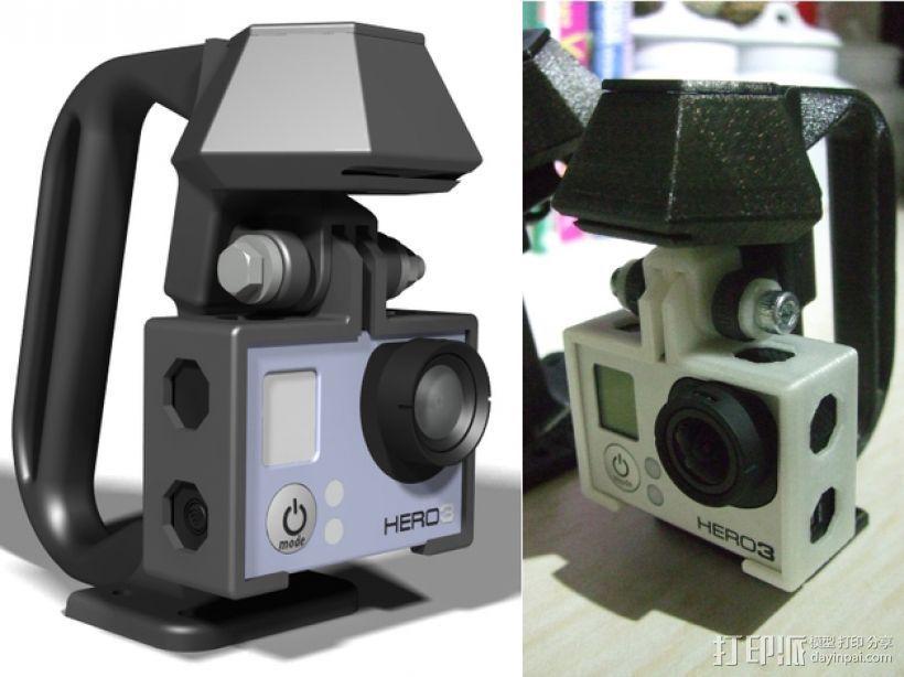 便携式GoPro Hero 3相机固定装置 3D打印模型渲染图
