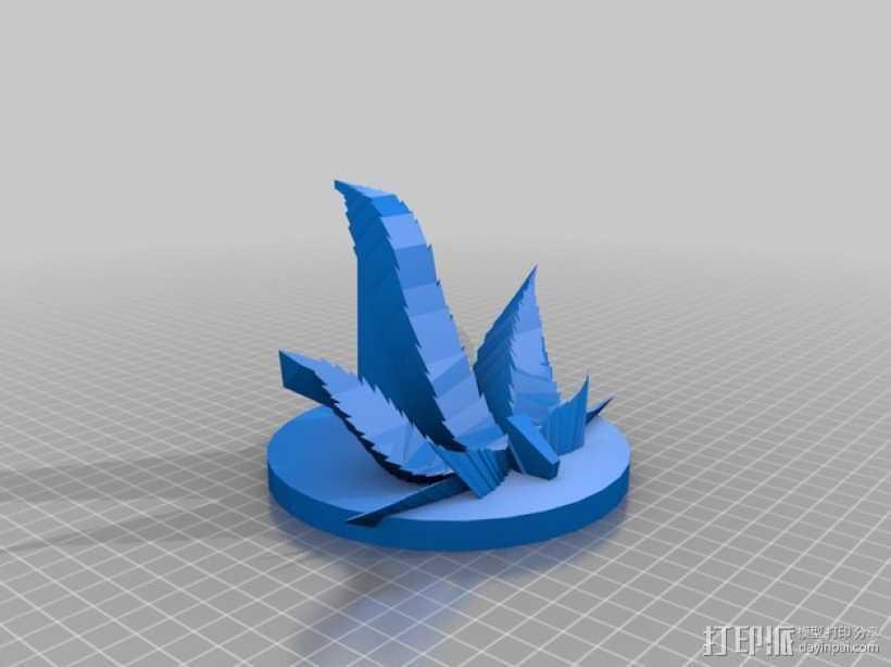大麻叶形平板电脑架 3D打印模型渲染图