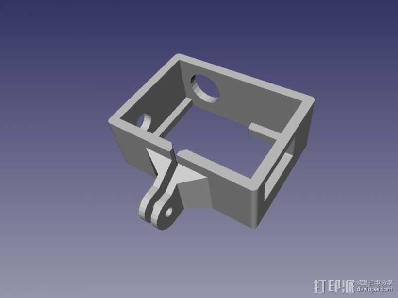 GoPro Hero 3录像机支撑架 固定器  3D打印模型渲染图