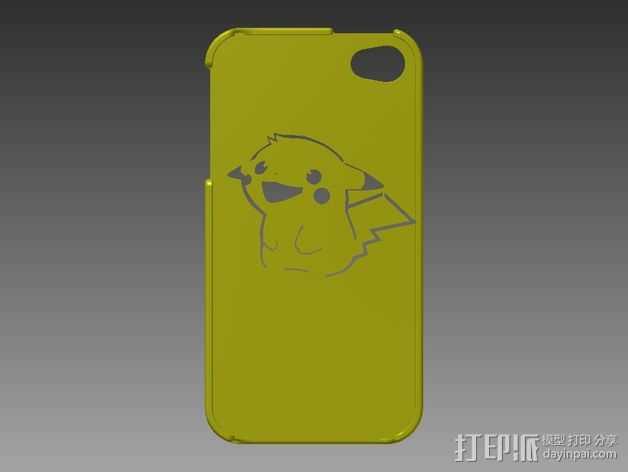 皮卡丘Iphone 4/4s 手机套 3D打印模型渲染图