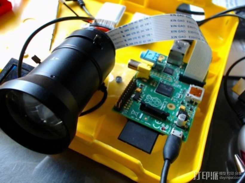 树莓派相机透镜支架 3D打印模型渲染图