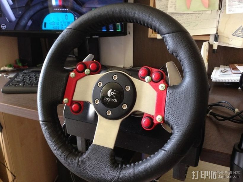 G27游戏方向盘按钮板 3D打印模型渲染图