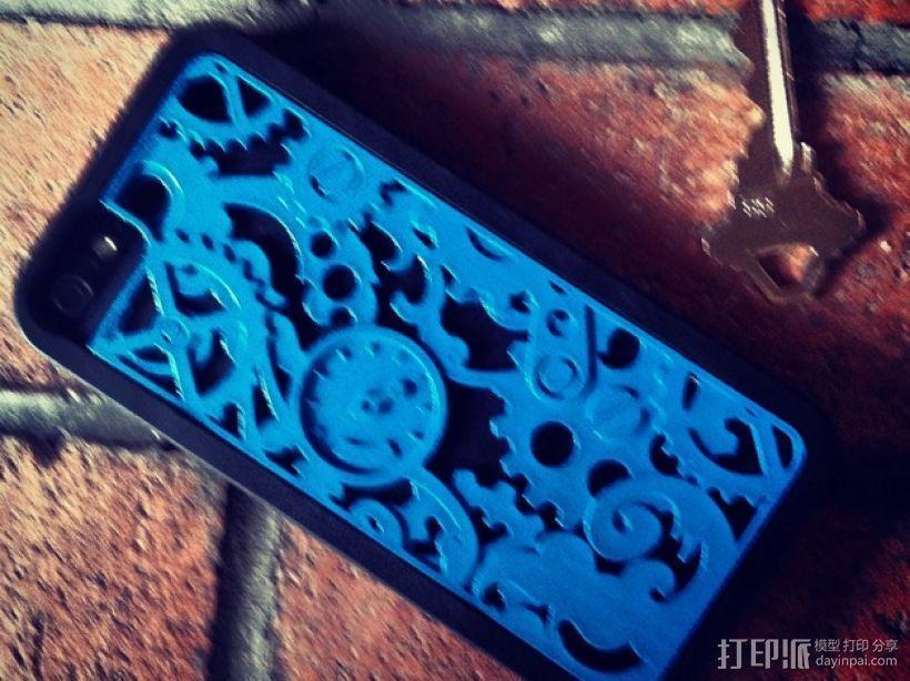 蒸汽朋克风格iPhone 5/5S 手机外壳 3D打印模型渲染图