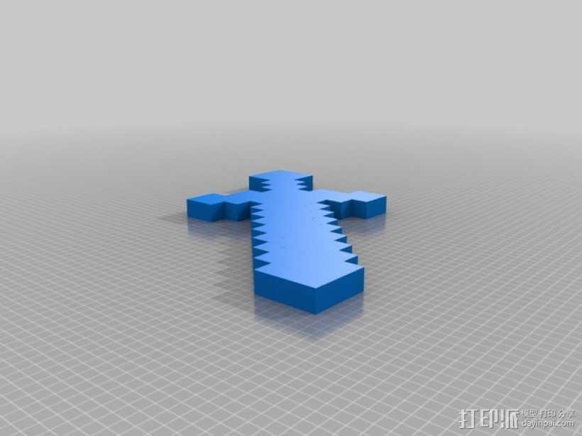 我的世界钻石剑 3D打印模型渲染图