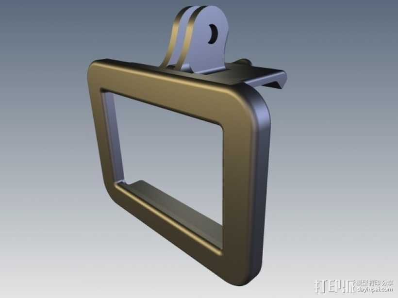 GoPro Hero 2相机保护框夹子 3D打印模型渲染图
