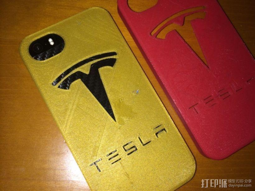 特斯拉汽车标志iPhone5/5s手机外壳 3D打印模型渲染图