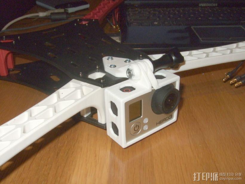 GoPro Hero 3相机四轴支撑架 3D打印模型渲染图