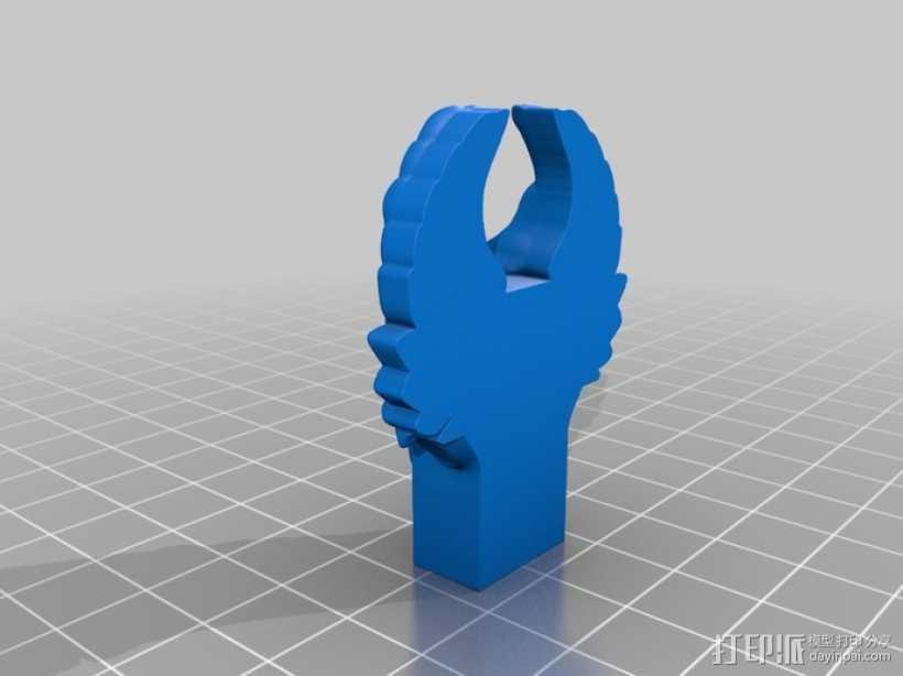 创客标志翅膀USB外壳 3D打印模型渲染图