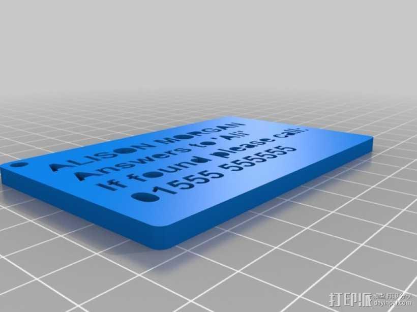 姓名牌 标签 3D打印模型渲染图