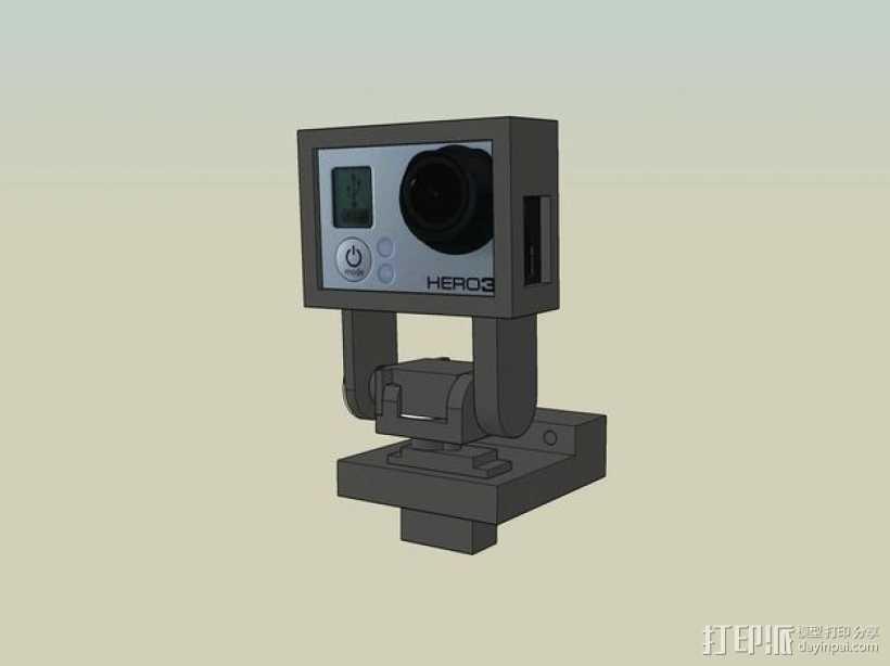 Gopro Hero 3摄像头固定槽 3D打印模型渲染图