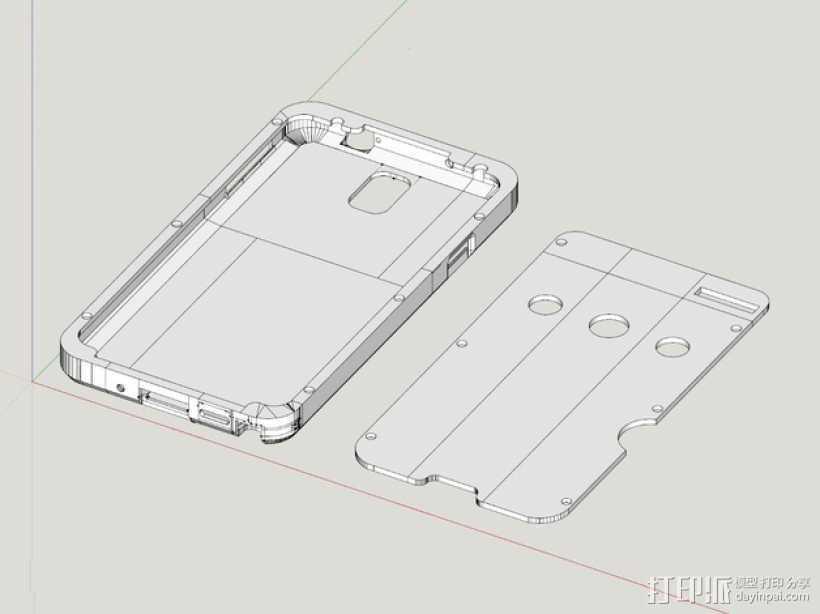 三星Galaxy Note 3外壳 3D打印模型渲染图