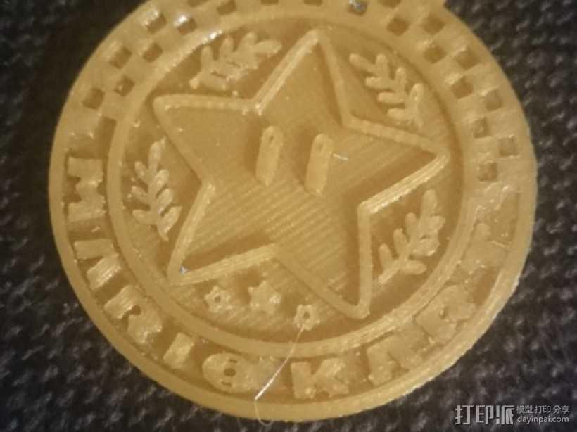 马里奥小星星徽章奖牌 3D打印模型渲染图