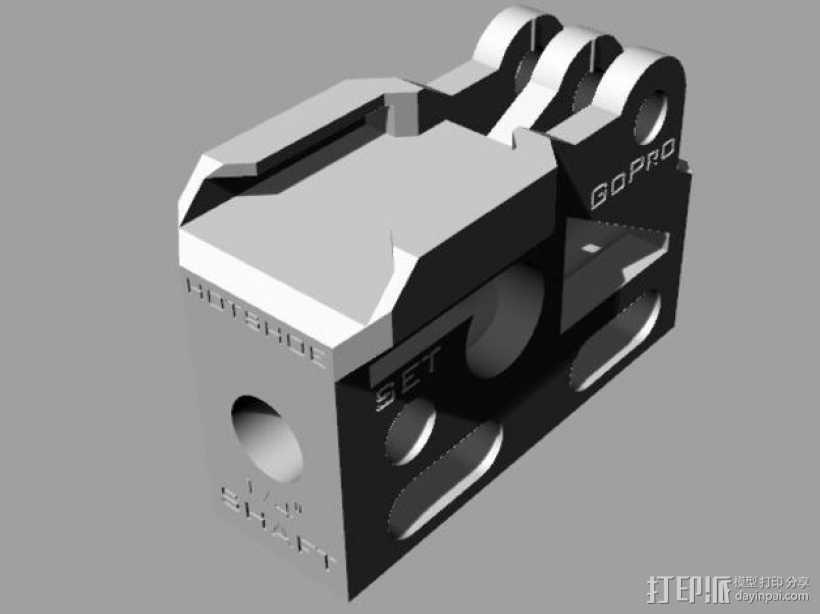 GoPro相机/反光伞连接器 3D打印模型渲染图