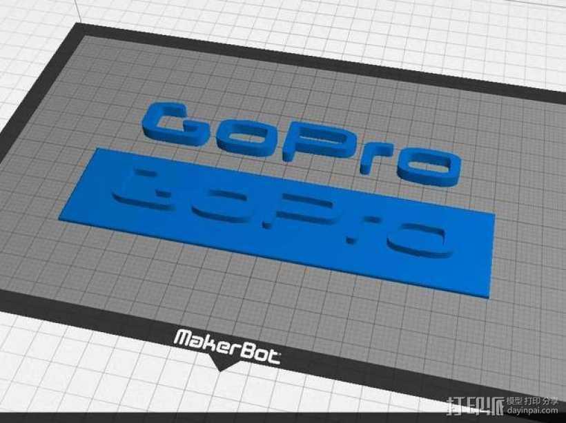 GOPRO相机品牌LOGO 3D打印模型渲染图