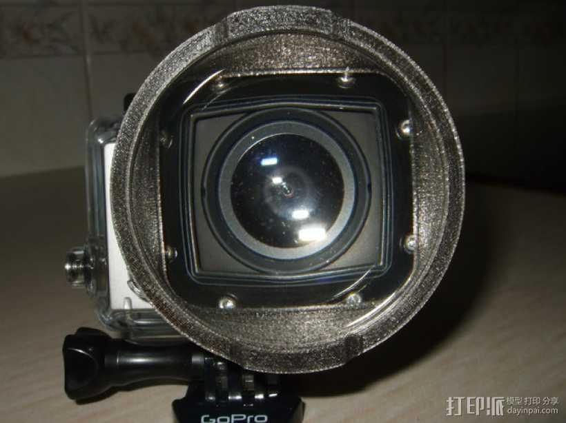 GoPro Hero3 相机镜头适配器 3D打印模型渲染图