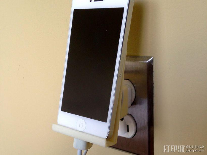 壁挂式iPhone 5手机充电座 3D打印模型渲染图