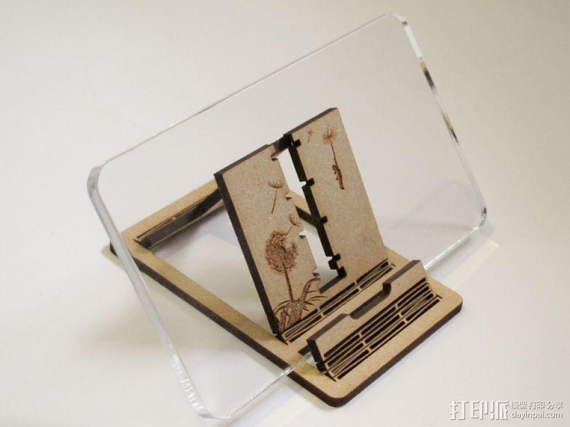 胶合板手机支撑架 3D打印模型渲染图