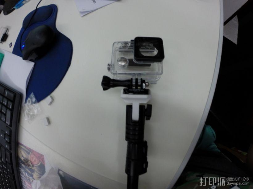 GoPro相机的单脚架连接器 3D打印模型渲染图