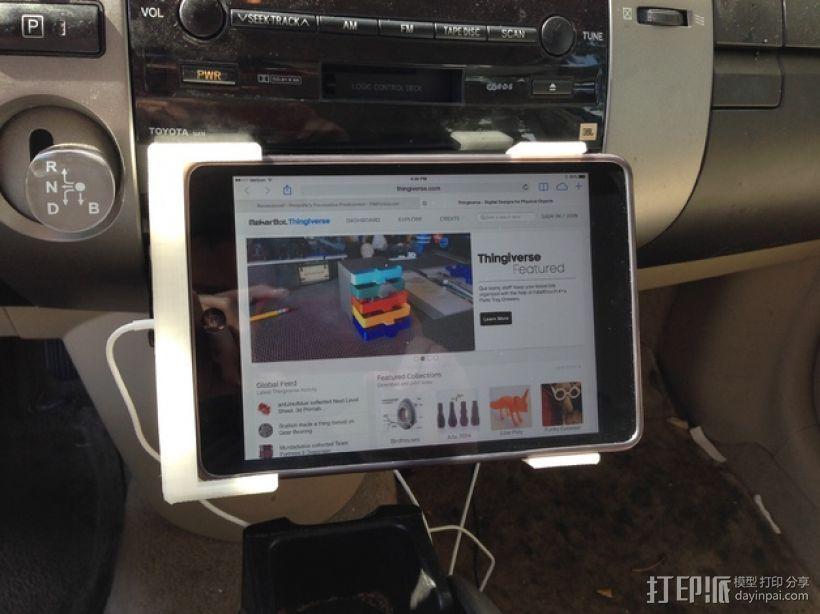车载式iPad Mini 平板电脑支撑架 3D打印模型渲染图