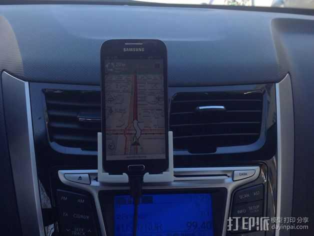 S4 mini手机支架车用CD槽 3D打印模型渲染图