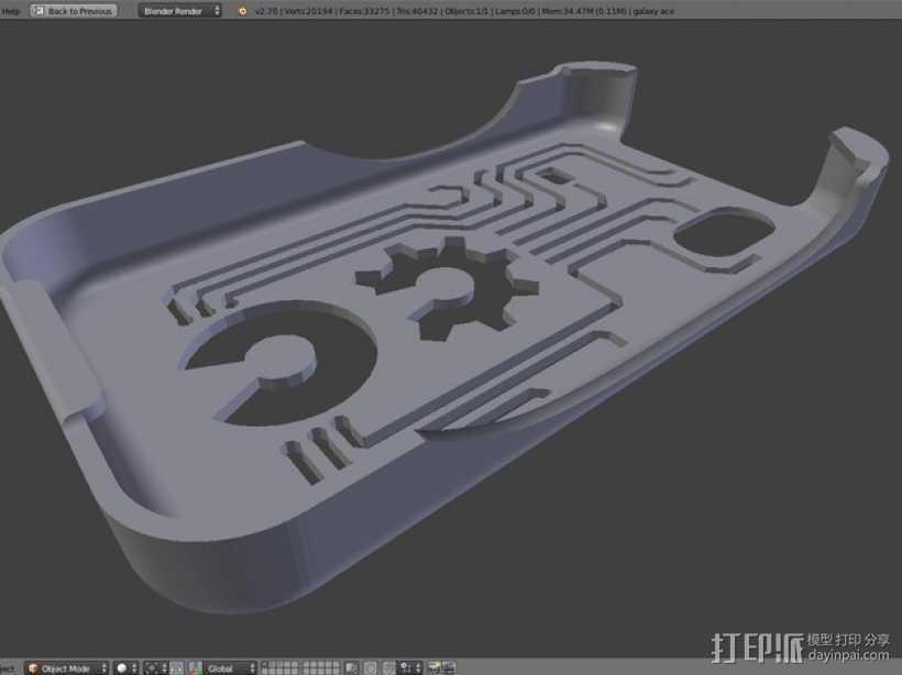 三星Galaxy Ace GT-S5830 甲板手机套 3D打印模型渲染图