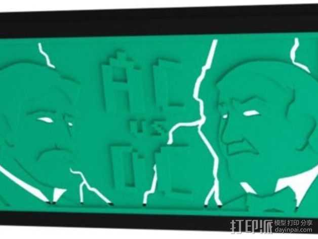 爱迪生和特斯拉 iPhone 5/5S/5C 开放式手机套 3D打印模型渲染图