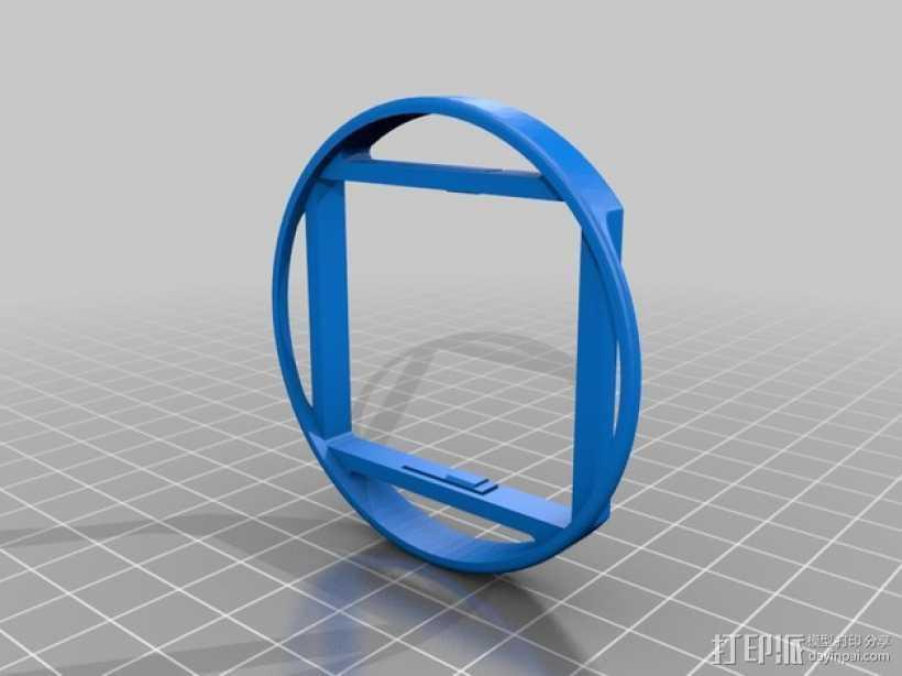 极限运动专用相机3 58毫米滤光片夹 3D打印模型渲染图